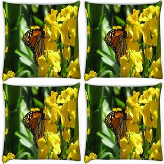 Snoogg Pack Of 4 Butterfly In Yellow Flower Digitally Printed Cushion Cover Pillow 10 x 10 Inch