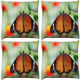 Snoogg Pack Of 4 Wet Butterfly Digitally Printed Cushion Cover Pillow 10 x 10 Inch