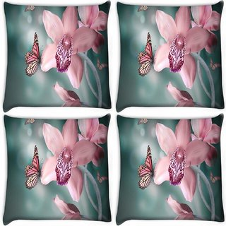 Snoogg Pack Of 4 Pink Flower And Butterfly Digitally Printed Cushion Cover Pillow 10 x 10 Inch