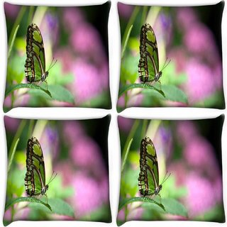 Snoogg Pack Of 4 Green Butterfly Digitally Printed Cushion Cover Pillow 10 x 10 Inch