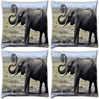 Snoogg Pack Of 4 Elephant Walking Digitally Printed Cushion Cover Pillow 10 x 10 Inch