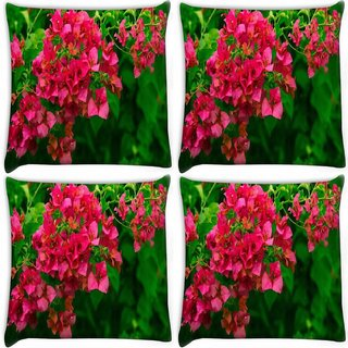 Snoogg Pack Of 4 Colorful Tree Digitally Printed Cushion Cover Pillow 10 x 10 Inch
