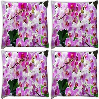 Snoogg Pack Of 4 Shoo Flower Digitally Printed Cushion Cover Pillow 10 x 10 Inch