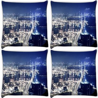 Snoogg Pack Of 4 White City Digitally Printed Cushion Cover Pillow 10 x 10 Inch