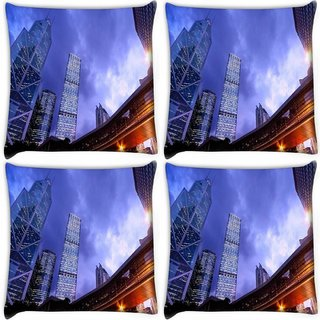 Snoogg Pack Of 4 Crystal Building Digitally Printed Cushion Cover Pillow 10 x 10 Inch