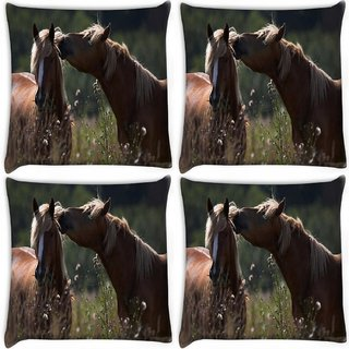 Snoogg Pack Of 4 Horse And Snow Digitally Printed Cushion Cover Pillow 10 x 10 Inch