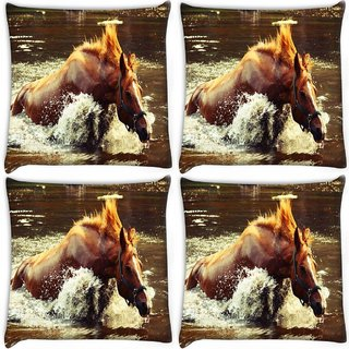 Snoogg Pack Of 4 Horse In Water Digitally Printed Cushion Cover Pillow 10 x 10 Inch