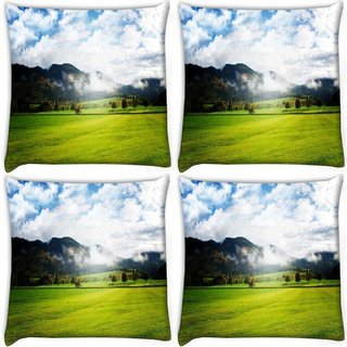 Snoogg Pack Of 4 Clouds And Garden Digitally Printed Cushion Cover Pillow 10 x 10 Inch
