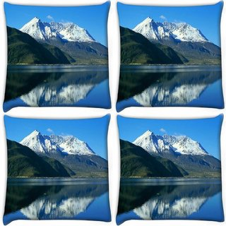 Snoogg Pack Of 4 White Hill Top Digitally Printed Cushion Cover Pillow 10 x 10 Inch