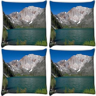 Snoogg Pack Of 4 Abstract White Mountain Digitally Printed Cushion Cover Pillow 10 x 10 Inch