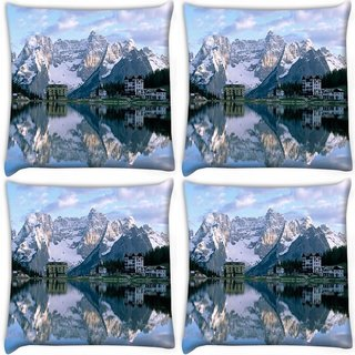 Snoogg Pack Of 4 Reflection In The Water Digitally Printed Cushion Cover Pillow 10 x 10 Inch