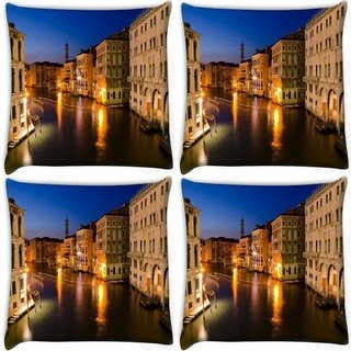 Snoogg Pack Of 4 Abstract Lake At Night Digitally Printed Cushion Cover Pillow 10 x 10 Inch