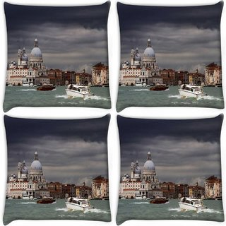 Snoogg Pack Of 4 Black Cloud Digitally Printed Cushion Cover Pillow 10 x 10 Inch