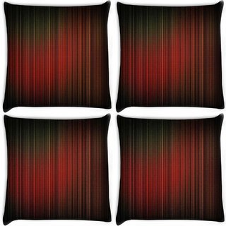 Snoogg Pack Of 4 Red Pattern Design Digitally Printed Cushion Cover Pillow 10 x 10 Inch