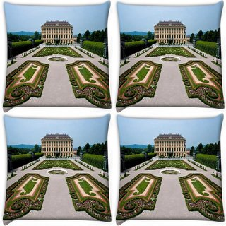 Snoogg Pack Of 4 Big Palace Digitally Printed Cushion Cover Pillow 10 x 10 Inch