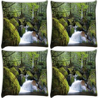 Snoogg Pack Of 4 Water Flowing Throiugh The Stones Digitally Printed Cushion Cover Pillow 10 x 10 Inch