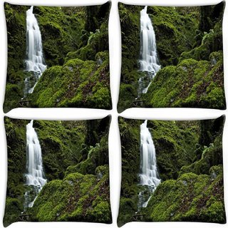 Snoogg Pack Of 4 Big Waterfall Digitally Printed Cushion Cover Pillow 10 x 10 Inch