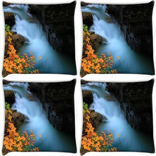 Snoogg Pack Of 4 Water Flowning In Great Force Digitally Printed Cushion Cover Pillow 10 x 10 Inch