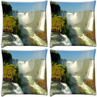 Snoogg Pack Of 4 Huge Waterfall Digitally Printed Cushion Cover Pillow 10 x 10 Inch