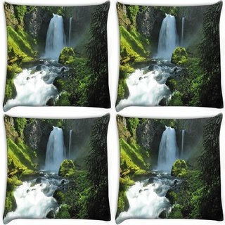 Snoogg Pack Of 4 Abstract Waterfall Digitally Printed Cushion Cover Pillow 10 x 10 Inch