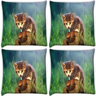 Snoogg Pack Of 4 Kitty Digitally Printed Cushion Cover Pillow 10 x 10 Inch