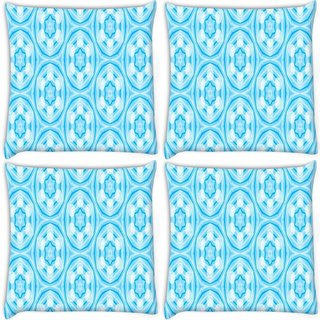 Snoogg Pack Of 4 Abstract Star Blue Pattern Digitally Printed Cushion Cover Pillow 10 x 10 Inch