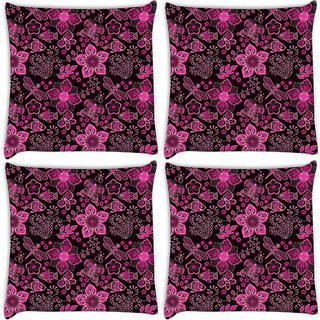 Snoogg Pack Of 4 Pink Floral Black Pattern Digitally Printed Cushion Cover Pillow 10 x 10 Inch