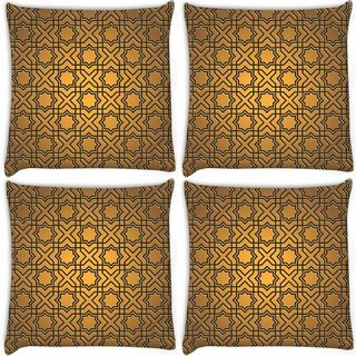 Snoogg Pack Of 4 Abstract Yellow Digitally Printed Cushion Cover Pillow 10 x 10 Inch