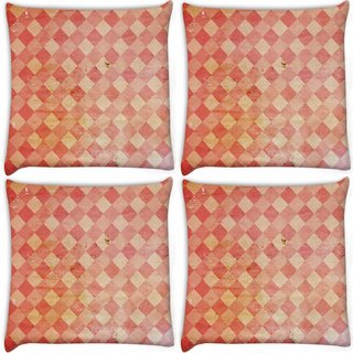 Snoogg Pack Of 4 Red Blocks Carpet Digitally Printed Cushion Cover Pillow 10 x 10 Inch