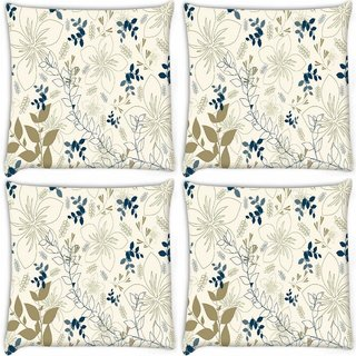 Snoogg Pack Of 4 Light Floral Design Digitally Printed Cushion Cover Pillow 10 x 10 Inch