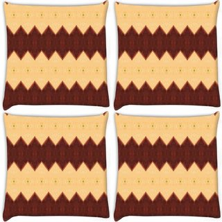 Snoogg Pack Of 4 Cream And Brown Mix Digitally Printed Cushion Cover Pillow 10 x 10 Inch