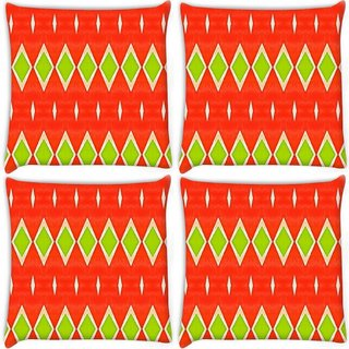 Snoogg Pack Of 4 Green Diamond Orange Pattern Digitally Printed Cushion Cover Pillow 10 x 10 Inch