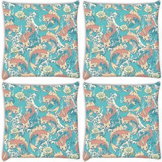 Snoogg Pack Of 4 Abstract Fish In Sea Digitally Printed Cushion Cover Pillow 10 x 10 Inch