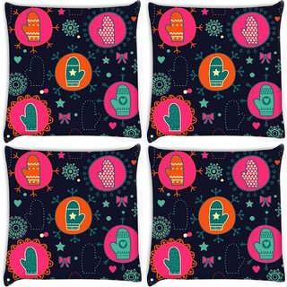 Snoogg Pack Of 4 Abstract Gloves Digitally Printed Cushion Cover Pillow 10 x 10 Inch