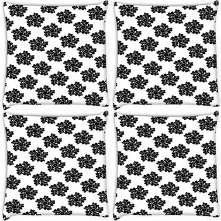 Snoogg Pack Of 4 Abstract Floral Star Digitally Printed Cushion Cover Pillow 10 x 10 Inch