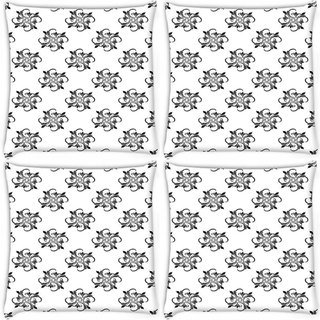 Snoogg Pack Of 4 Abstract Pattern Grey Digitally Printed Cushion Cover Pillow 10 x 10 Inch