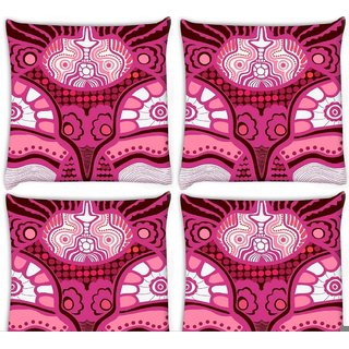 Snoogg Pack Of 4 Pink Pattern Digitally Printed Cushion Cover Pillow 10 x 10 Inch