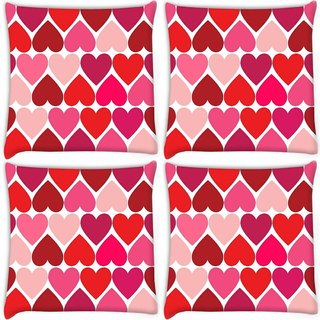 Snoogg Pack Of 4 Opposite Hearts Digitally Printed Cushion Cover Pillow 10 x 10 Inch