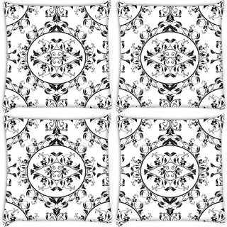Snoogg Pack Of 4 Dining Matt Pattern Digitally Printed Cushion Cover Pillow 10 x 10 Inch