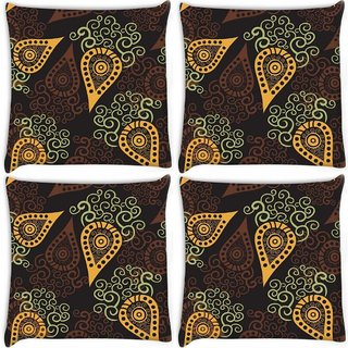 Snoogg Pack Of 4 Yellow Pattern Digitally Printed Cushion Cover Pillow 10 x 10 Inch