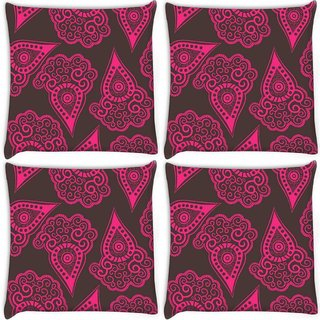 Snoogg Pack Of 4 Brown Pattern Digitally Printed Cushion Cover Pillow 10 x 10 Inch