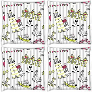 Snoogg Pack Of 4 Beach Side Digitally Printed Cushion Cover Pillow 10 x 10 Inch