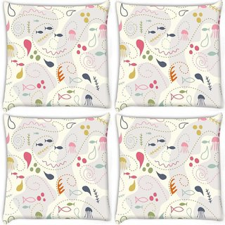 Snoogg Pack Of 4 Fish World Digitally Printed Cushion Cover Pillow 10 x 10 Inch