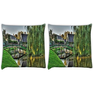 Snoogg Pack Of 2 Green Nature Digitally Printed Cushion Cover Pillow 10 x 10 Inch