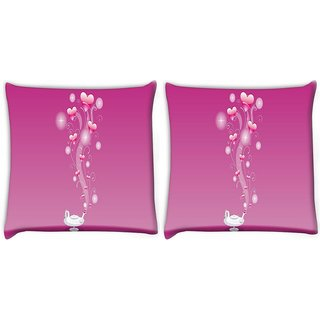 Snoogg Pack Of 2 Abstract Pink Heart Digitally Printed Cushion Cover Pillow 10 x 10 Inch