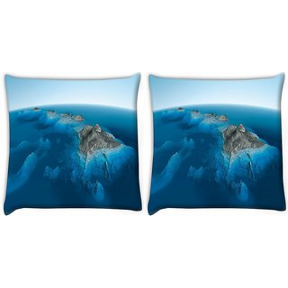 Snoogg Pack Of 2 Blue Water Sea Digitally Printed Cushion Cover Pillow 10 x 10 Inch