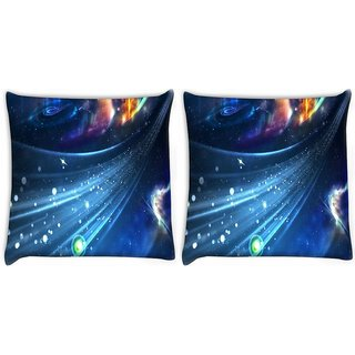 Snoogg Pack Of 2 Stars In Galaxy Digitally Printed Cushion Cover Pillow 10 x 10 Inch