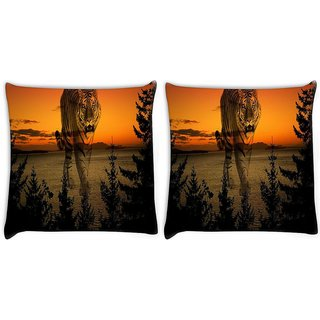 Snoogg Pack Of 2 Forest Tiger Digitally Printed Cushion Cover Pillow 10 x 10 Inch