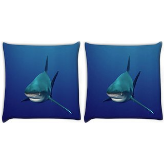 Snoogg Pack Of 2 Shark Digitally Printed Cushion Cover Pillow 10 x 10 Inch