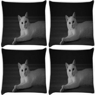 Snoogg Pack Of 4 Curious White Cat Digitally Printed Cushion Cover Pillow 10 x 10 Inch